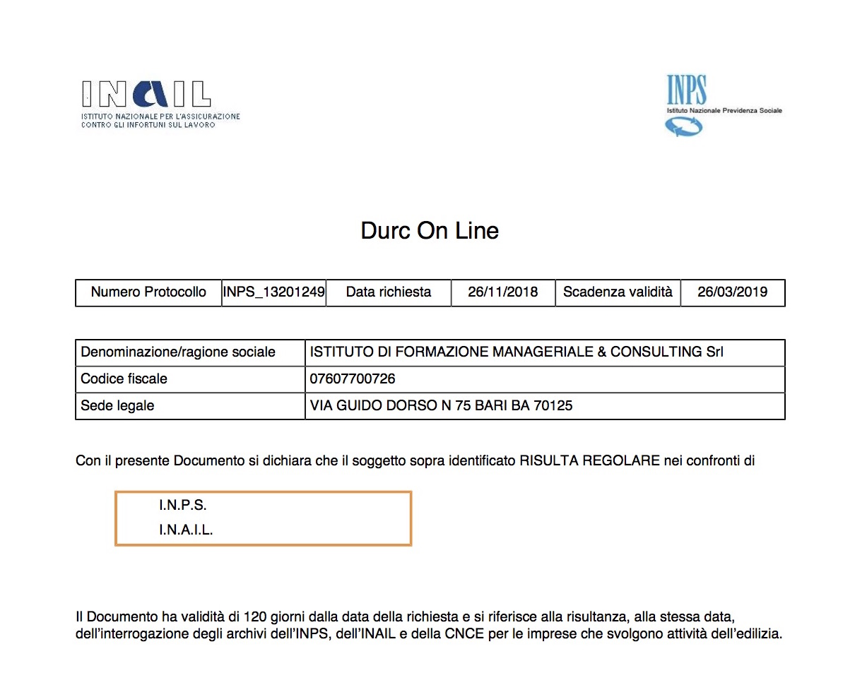 Documento DURC